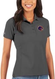 Antigua Boise State Broncos Womens Grey Legacy Pique Short Sleeve Polo Shirt