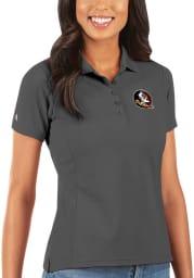 Antigua Florida State Seminoles Womens Grey Legacy Pique Short Sleeve Polo Shirt