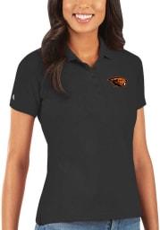Antigua Oregon State Beavers Womens Grey Legacy Pique Short Sleeve Polo Shirt