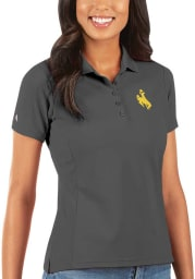 Antigua Wyoming Cowboys Womens Grey Legacy Pique Short Sleeve Polo Shirt