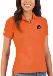 Antigua Boise State Broncos Womens Orange Legacy Pique Short Sleeve Polo Shirt