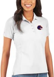 Antigua Boise State Broncos Womens White Legacy Pique Short Sleeve Polo Shirt