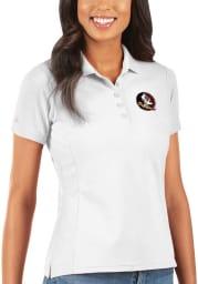 Antigua Florida State Seminoles Womens White Legacy Pique Short Sleeve Polo Shirt