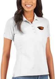 Antigua Oregon State Beavers Womens White Legacy Pique Short Sleeve Polo Shirt