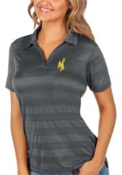 Antigua Wyoming Cowboys Womens Grey Compass Short Sleeve Polo Shirt