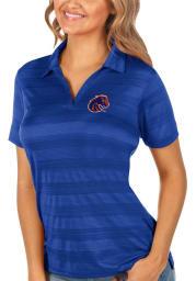 Antigua Boise State Broncos Womens Blue Compass Short Sleeve Polo Shirt