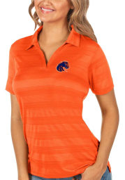 Antigua Boise State Broncos Womens Orange Compass Short Sleeve Polo Shirt