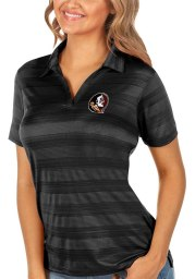 Antigua Florida State Seminoles Womens Black Compass Short Sleeve Polo Shirt