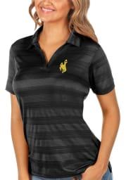 Antigua Wyoming Cowboys Womens Black Compass Short Sleeve Polo Shirt