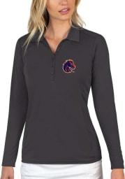 Antigua Boise State Broncos Womens Grey Tribute Long Sleeve Polo Shirt