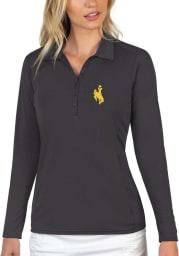 Antigua Wyoming Cowboys Womens Grey Tribute Long Sleeve Polo Shirt