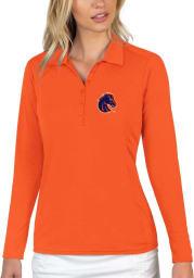 Antigua Boise State Broncos Womens Orange Tribute Long Sleeve Polo Shirt