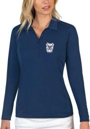 Antigua Butler Bulldogs Womens Navy Blue Tribute Long Sleeve Polo Shirt