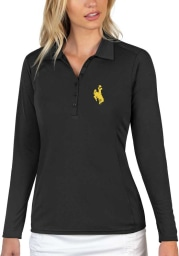 Antigua Wyoming Cowboys Womens Black Tribute Long Sleeve Polo Shirt