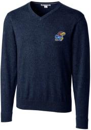 Cutter and Buck Kansas Jayhawks Mens Navy Blue Lakemont Long Sleeve Sweater