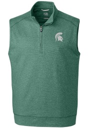 Cutter and Buck Michigan State Spartans Mens Green Shoreline Sweater Vest
