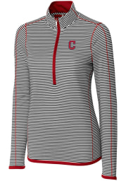 Cutter and Buck Cleveland Indians Womens Red Trevor Stripe 1/4 Zip Pullover