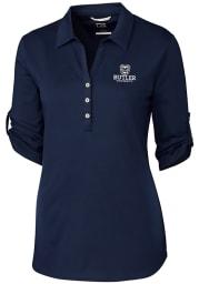 Cutter and Buck Butler Bulldogs Womens Thrive Long Sleeve Navy Blue Dress Shirt