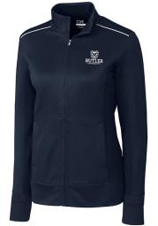 Cutter and Buck Butler Bulldogs Womens Navy Blue Ridge Long Sleeve Full Zip Jacket