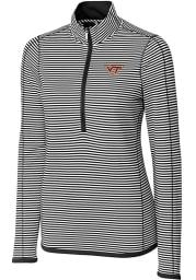 Cutter and Buck Virginia Tech Hokies Womens Black Trevor Stripe Long Sleeve Full Zip Jacket