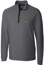 Cutter and Buck Wyoming Cowboys Mens Grey Jackson Long Sleeve 1/4 Zip Pullover