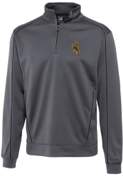 Cutter and Buck Wyoming Cowboys Mens Grey Edge Long Sleeve 1/4 Zip Pullover