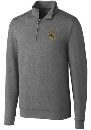 Cutter and Buck Wyoming Cowboys Mens Grey Shoreline Long Sleeve 1/4 Zip Pullover