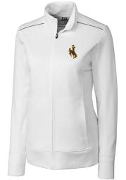 Cutter and Buck Wyoming Cowboys Womens White Ridge Long Sleeve Full Zip Jacket
