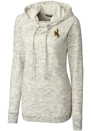 Cutter and Buck Wyoming Cowboys Womens White Tie Breaker Hooded Sweatshirt