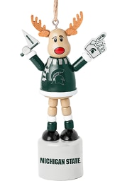 Michigan State Spartans Push Puppet Reindeer Ornament