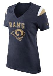 Nike St Louis Rams Womens Navy Blue Fan V-Neck V-Neck T-Shirt