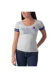 47 Philadelphia 76ers Womens Grey Showtime Scoop Scoop T-Shirt