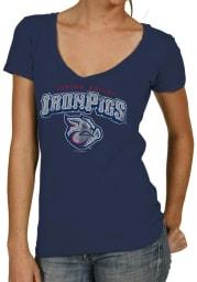 Original Retro Brand Lehigh Valley Ironpigs Womens Navy Blue Wordmark V-Neck T-Shirt
