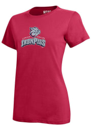 Lehigh Valley Ironpigs Womens Red Mia Short Sleeve Crew T-Shirt