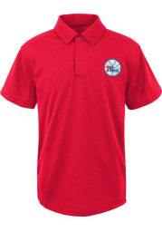 Philadelphia 76ers Youth Red Primary Short Sleeve Polo Shirt