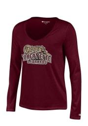 Lafayette College Juniors Maroon Swept Long Sleeve T-Shirt