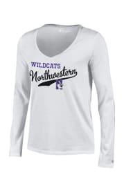 Northwestern Wildcats Juniors White Campus Script Long Sleeve T-Shirt