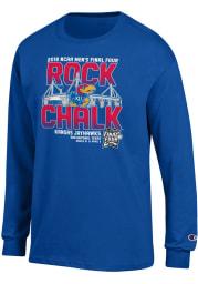 Champion Kansas Jayhawks Blue Rock Chalk Stadium Long Sleeve T Shirt