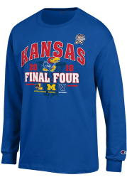 Champion Kansas Jayhawks Blue 4 Team- 1 Feature Long Sleeve T Shirt