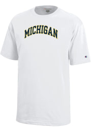 Champion Michigan Wolverines Youth White Arch Short Sleeve T-Shirt