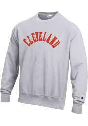Cleveland Mens Grey Wordmark Long Sleeve Crew Sweatshirt