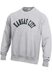 Kansas City Mens Grey Wordmark Long Sleeve Crew Sweatshirt