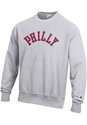 Philadelphia Mens Grey Wordmark Long Sleeve Crew Sweatshirt