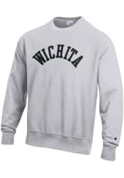 Wichita Mens Grey Wordmark Long Sleeve Crew Sweatshirt