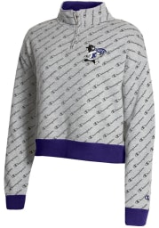 Champion K-State Wildcats Womens Grey Co-Branded Super Fan 1/4 Zip Pullover
