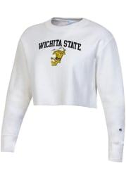 Champion Wichita State Shockers Womens White Reverse Weave Cropped Boyfriend Crew Sweatshirt