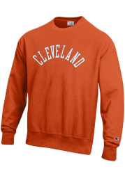 Champion Cleveland Mens Orange Wordmark Long Sleeve Crew Sweatshirt