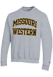 Champion Missouri Western Griffons Mens Grey Twill Powerblend Long Sleeve Crew Sweatshirt