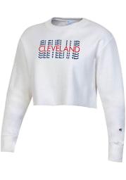 Champion Cleveland Womens White Repeating Wordmark Crew Sweatshirt