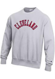 Champion Cleveland Mens Grey Arched Long Sleeve Crew Sweatshirt